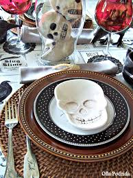 Olla-Podrida: Skulls & Bones Tablescape   Halloween Tablescapes ... Vintage Halloween Colcblesdecorations For Sale Pottery Barn Host Your Party In Style Our Festive Dishes Inspiration From The Whimsical Lady At Home Snowbird Salad Plates Click On Link To See Spooky Owl Bottle Stopper Christmas Thanksgiving 2013 For Purr03 8 Ciroa Wiccan Lace Dinner Salad Plates