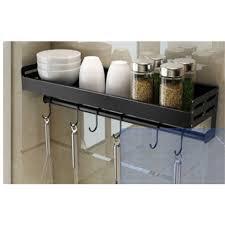 details zu gewürzregal schwarz 50cm mit 8 haken wandregal organizer regal küche