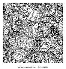 Black Mono Color Illustration Adult Coloring Book Page Design For Adults Template