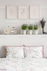 nahaufnahme der kissen mit blumen pflanzen und fahrrad auf dem regal und grafik an der wand in einem hellen schlafzimmer interieur echtes foto