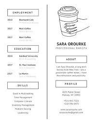 Barista Resume New Sample Ivory Coffee Minimalist Starbucks Template