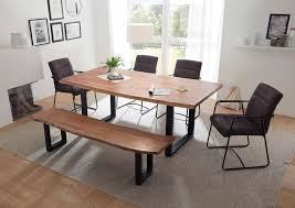 essgruppe 6 tlg esstisch mit sitzbank massivholz akazie inkl armlehnenstühle grau günstig möbel küchen büromöbel kaufen froschkönig24
