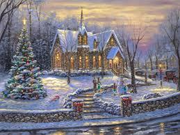 Thomas Kinkade Christmas Tree Cottage by Church Bells Of Christmas Paintings U0026 Art Thomas Kinkade