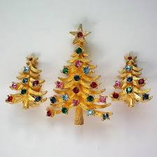 Book Piece MYLU Christmas Tree Pin With Earrings Set 5661