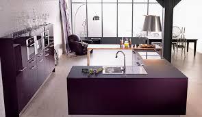 modele de cuisine equipee cuisine moderne violette avec îlot modèle rive droite