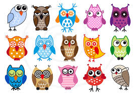 Cute Owls Digital Clip Art Set Clipart Vector Graphic Design For Kids Children Nursary Commercial Use EPS SVG Instant Download