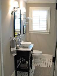 Guest Bathroom Decorating Ideas by Small Gray Guest Bathroom Ideas With Black Wooden Console Sink