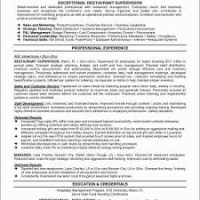 Supervisor Resume New Restaurant Examples Customer Service