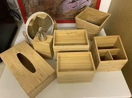 badezimmer zubehör deko bambus wie neu