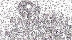 Zombie Art Horde Coloring Book Image