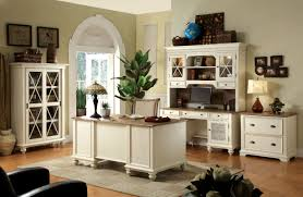 Rustic Style Home Office Design With White Painted Furniture Interior Color Decor Combined Brown Laminate Wooden Floor Tiles Gray Carpet And