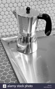 Italian Coffee Maker In A Kitchen Black And White Vertical