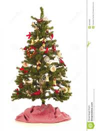 Christmas Tree With Festive Decorations Antique And New On White Small Or Nts To Color