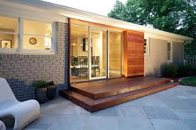 flat roof patio landscape contemporary with covered walkway wood