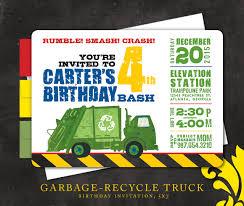 100 Truck Birthday Invitations Nealon Design GARBAGERecycle Invitation Garbage