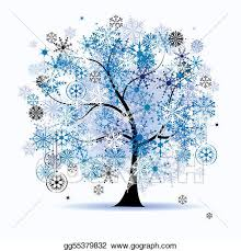 Vector Stock Winter tree snowflakes christmas holiday Stock Clip Art gg