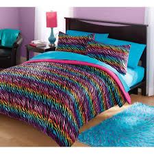 Your Zone Mink Rainbow Zebra Bedding forter Set Walmart