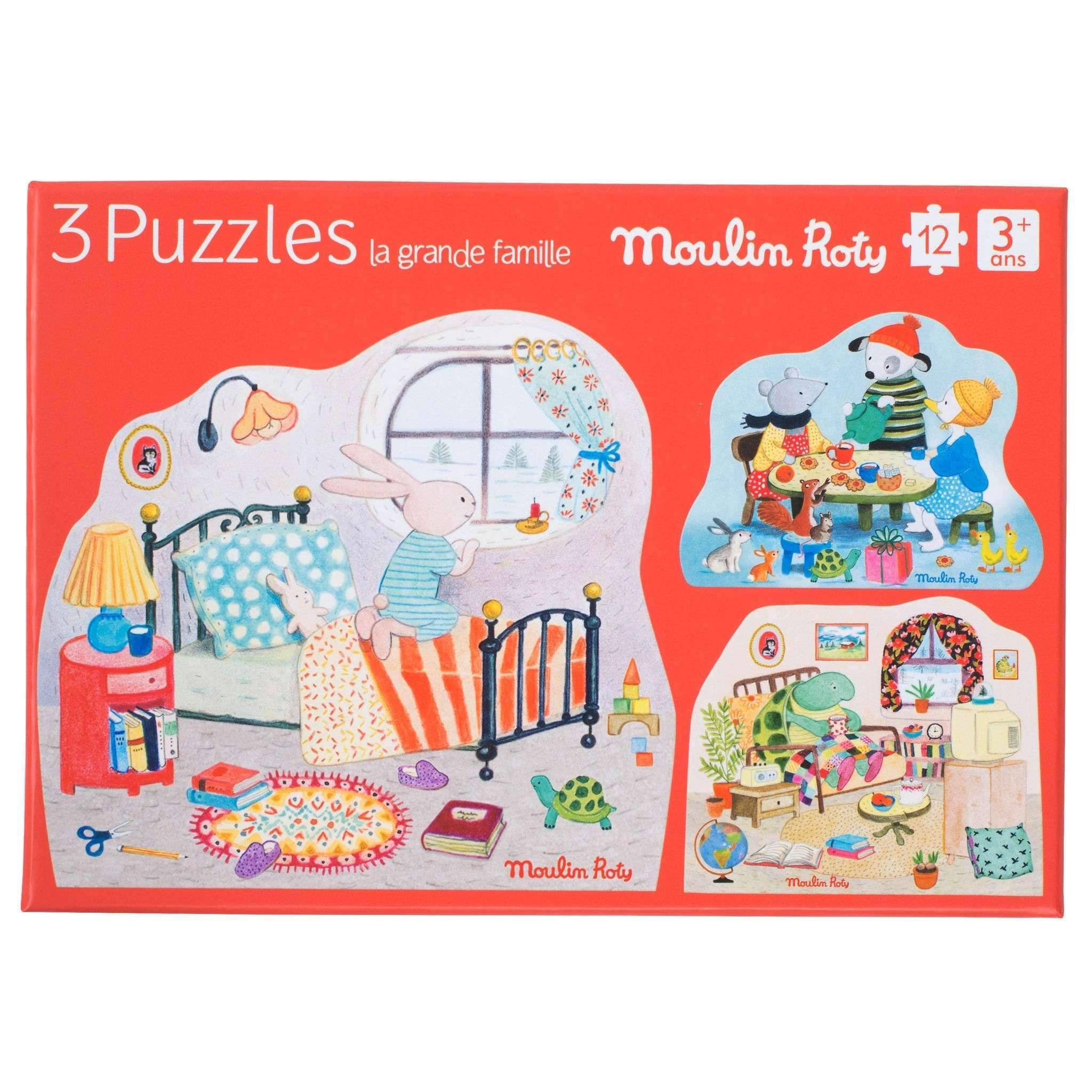 Moulin Roty La Grande Famille Jigsaw Puzzle - Set of 3, 12pc Puzzle