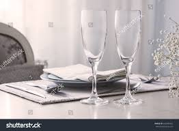 Pair Of Wine Glasses Champagne Flutes On The Wedding Table Mockup