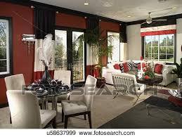 schwarz rot weiß eßecke dn wohnzimmer stock foto