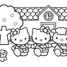 Hello Kitty And A Birdcage Kittys House Coloring Page