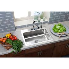 Overmount Double Kitchen Sink by Elkay Nlx3322104 Neptune Drop In 33x22x10 4 Hole Double Bowl