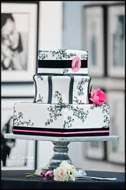 A Black White and Hot Pink Wedding Cake at The Atlantic Center of the Arts Congratulations Allie Matteo