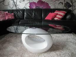 designer couchtisch tisch f wohnzimmer glas oval weiß hochglanz