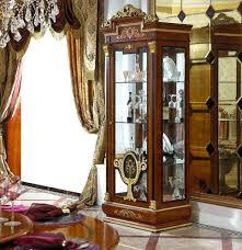 vitrine glas schrank wohnzimmer schaufenster 1türige vitrinen barock rokoko e38