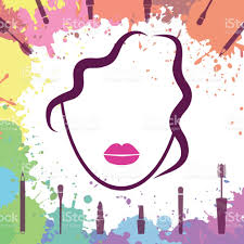 Face of beautiful girl Makeup artist Fashion icon Make up elements Logo