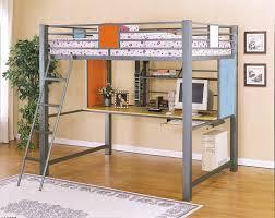modern bunk bed with desk underneath