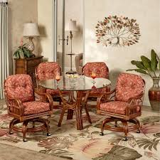 Leikela Round Dining Table With Caster Chairs Papaya Medley Set Of Five