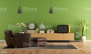 grüne wohnzimmer mit retrofernseher stockfoto und mehr bilder 1960 1969
