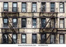 Rusty Emergency Escapes In A Run Down Apartment Building New York City 443960434