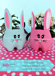 These DIY Easter Bunny Planters Are Made Using Recycled Pop Bottles Bright And Colorful They A Fun Craft For Table Centerpiece Front Porch Or