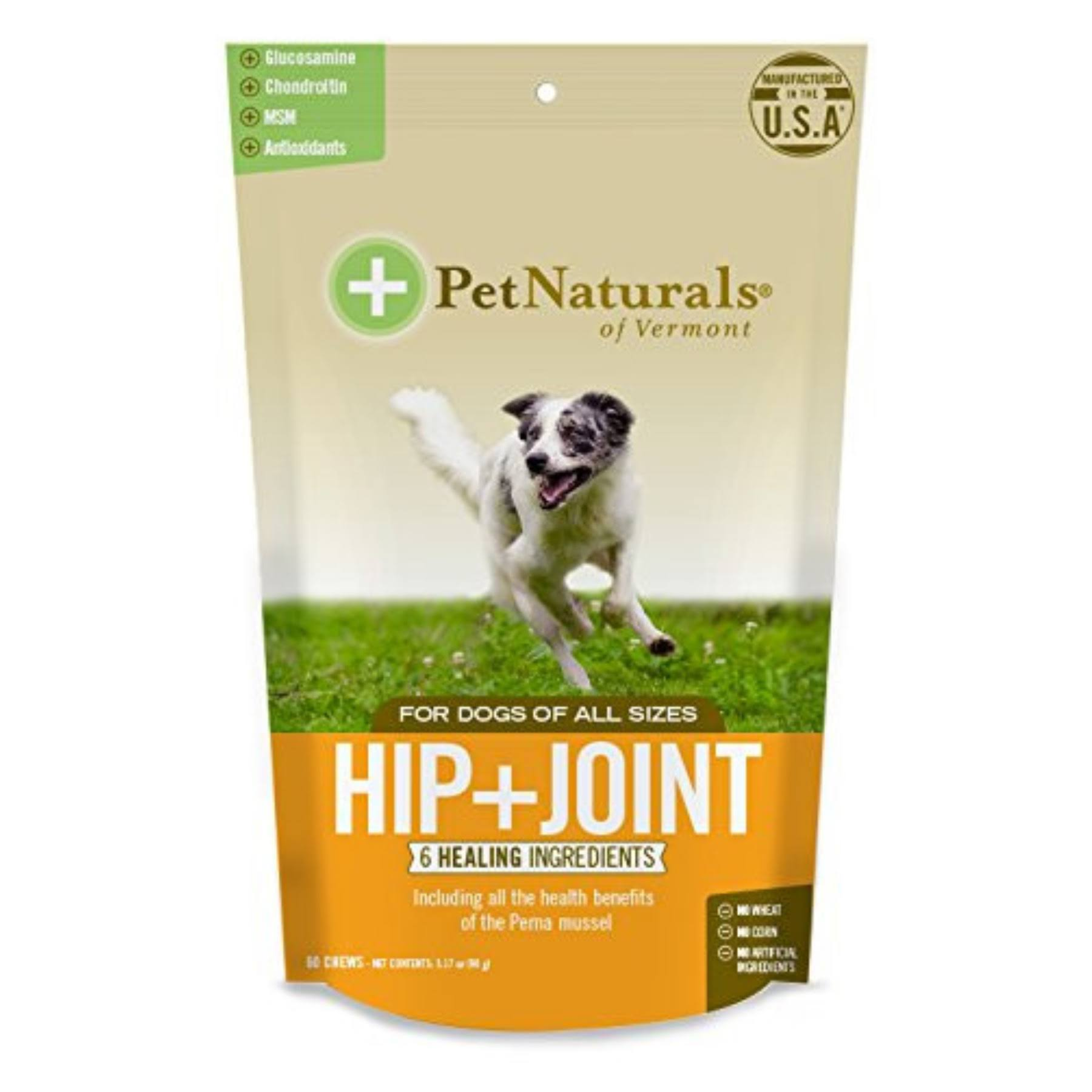 Pet Naturals Hip and Joint Chews for Dogs, Tablets - 60 count, 3.17 oz packet