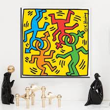 großhandel zz1370 moderne dekorative leinwand kunst keith haring berühmte leinwand gemälde wandkunst für wohnzimmer schlafzimmer dekoration ungerahmt