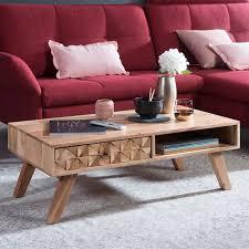 wohnling couchtisch rewa 95x35x50cm akazie massivholz sofatisch design wohnzimmertisch mit schublade stubentisch landhaus braun designer