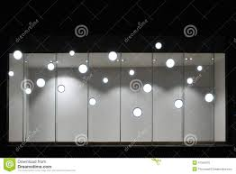 Empty Store Display Window With Led Light BulbsLED Lamp Used In Shop WindowCommercial Decoration