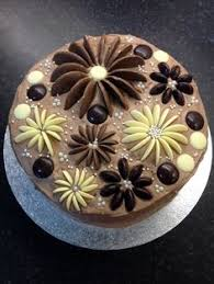 Blooming cake chocolate cake with chocolate button flowers
