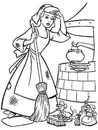 Cinderella Cleaning Her House In Coloring Page
