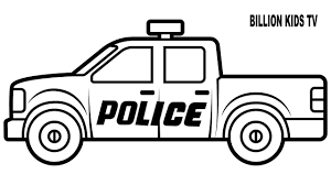 Police Truck Coloring Pages Colors For Kids With Vehicles Video