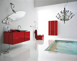 Chandelier Over Bathroom Vanity by Glorious White Red Bathroom Decorating Design With Bronze