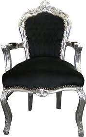 casa padrino barock esszimmerstuhl schwarz silber mit