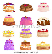 Illustration of sweet baked vector isolated cakes set Strawberry icing pie for holiday cupcake