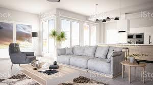 modernes wohnzimmer mit offener küche stockfoto und mehr bilder architektur