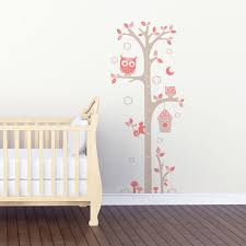 toise chambre bébé sticker mural toise chouettes gris et motif bébé fille pour