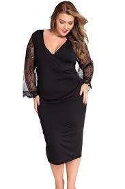 wholesale eyelash flared sleeves black plus size dress