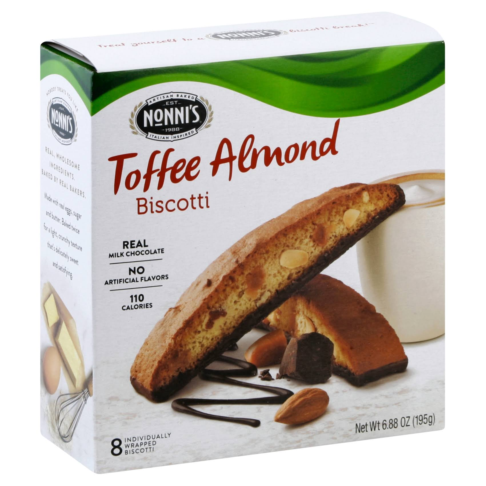 Nonnis Biscotti - Toffee Almond, 8 Ct, 6.88oz, Pack of 6