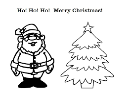 Santa And Christmas Tree Greeting Card Coloring Pages Of